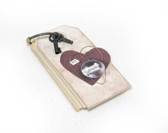 Tag Shaped Journal / Book - Ring Bound with Keys