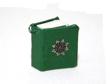 Book Charm for Necklace or Keychain - Dark Green Faux Leather Journal