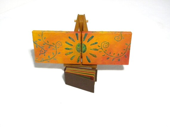 Mini Book / Journal Hidden in Hinged Canvases Hand Painted with Flower and Vines ACEO
