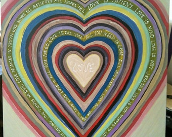Green and Red Painting - Original Painting - All You Need is Love  - Message Love is Patient - Rainbow of colors - Contemporary Art