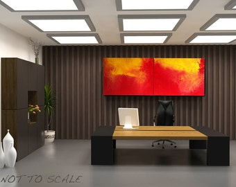 Abstract painting  Title: Torrid - Original- large 48'' x 18''  ( x1.5'' deep) DanielBrunosArts