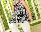 Black and White Damask Knot Top and Double Ruffle Pants Sizes 6-12 M, 12-18 M, 18-24 M, 2, 3, 4, 5.