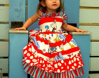 Girls Dr. Seuss Party Dress, Girls Cat in the Hat Dress, Girls Ruffle Dress, Girls Ruffle Back Dress, Girls Bustle Dress, Girls Party Dress