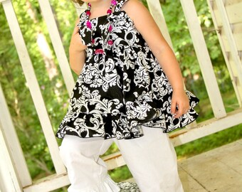 Girls Knot Top, Girls Black White Outfit, Damask, White Ruffle Capris, Girls Ruffle Pants, White Pants, Girls Spring Outfit, Girls Clothing