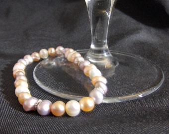 Fresh Water Pearl Bracelet - Purple, Pink and White Pearls