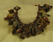 Natural Stone Bracelet with Turquoise, Tree Agate, Goldstone, Fluroite, Iron Zebra Jasper, and African Jade
