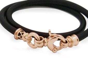 GOLD  leather BRACELET / Leather Bracelet 9k rose Gold clasps/ man's woman's handmade leather bracelet/ leather gold jewelry / black leather