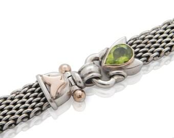 silver bracelet personalized / rose gold clasp / Silver braided Bracelet /claps rose Gold / peridot green gemstone/ handmade bracelet