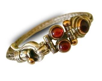 BRAIDED  SILVER bracelet/handmade Silver gold clasps/ Garnet red Gemstones/ handmade chain bracelet / silver chain handmade bracelet