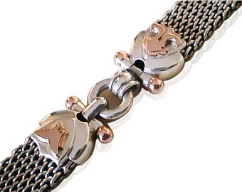 SILVER BRAIDED BRACELET/ handmade silver chain bracelet/ Gold silver chain handmade/ braided handmade chain/ personalized order  bracelet