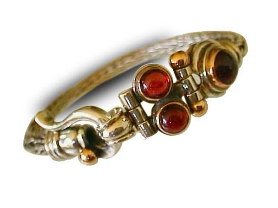 BRAIDED CUFF SILVER bracelet, Silver Design with 9k Gold, Garnet Gemstones, for man for woman, israeli design, handmade charm bracelet