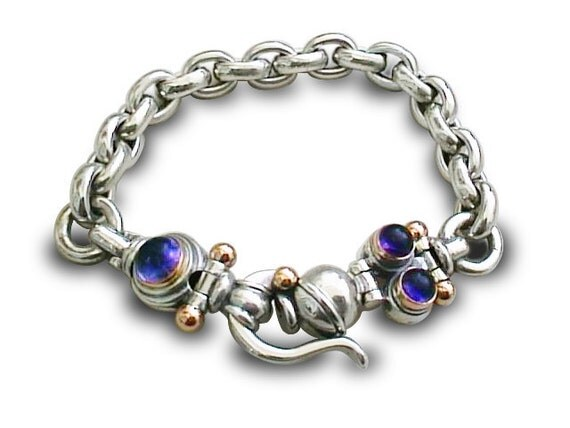 silver links Bracelet / Silver with Gold/ Iolite Gemstone bracelet / Man and Woman bracelet / handmade bracelet / handmade links bracelet
