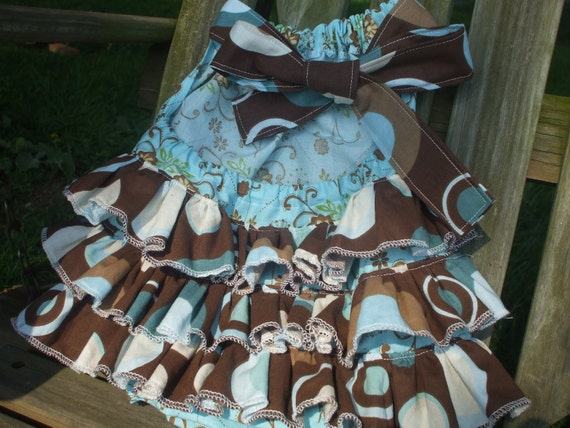Infants Ruffle Sun Suit, romper, light blue and brown polka dot and floral pattern, size 12-18 months, great for the beach or pool