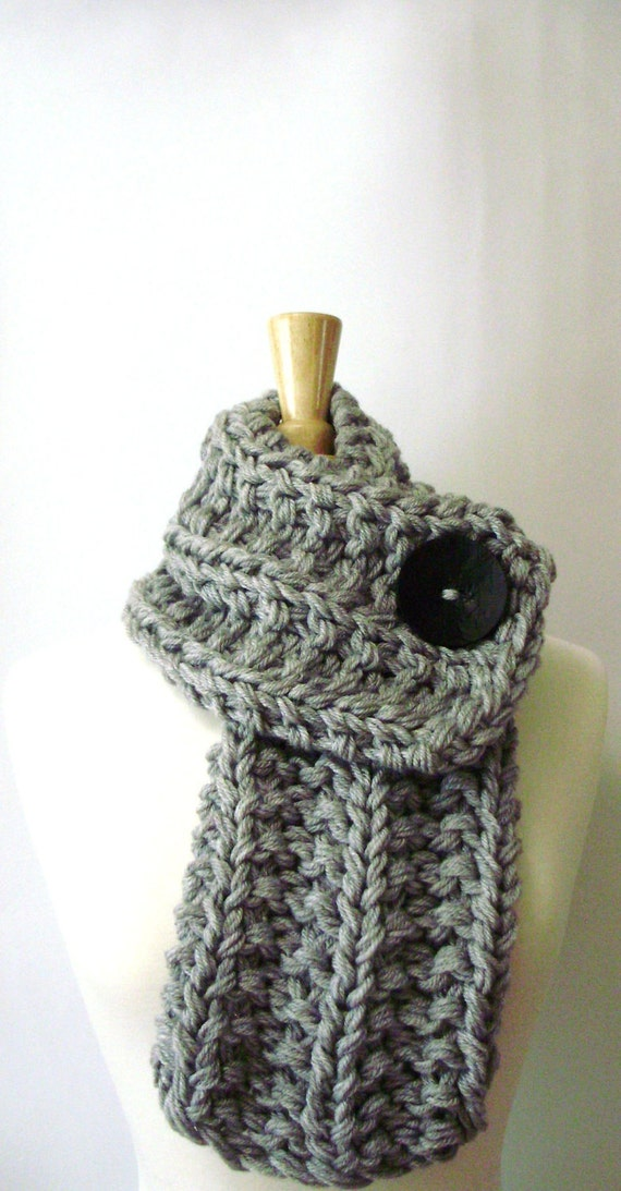 Light Grey Chunky Knit Cowl Scarf with Large Black Button