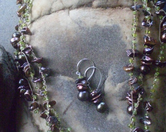 Tahitian Pearl and Peridot Necklace and Earrings