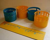 Paper Tealight covers Set of 8 - Atomic Abstract - Blue and Yellow