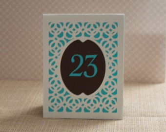 BRIDGE Style B Vintage Wedding Table Numbers, Table Markers, Table Number Luminaries, Wedding Luminaries