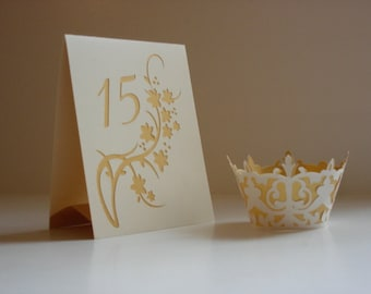 Floral Wedding Table Cards / Table Numbers / Luminaries / Table Markers / Table Tents Style