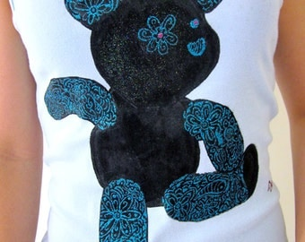 Handpainted Women's Singlet Floral Teddy Bear tattoo Inspired with glitter