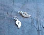 Monogram charm,Tiny Personalized leaf - add to your jewely