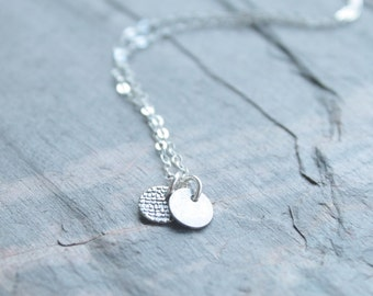 Silver necklace, disc necklace, two disc necklace, round charm, tiny charm, simple modern necklace