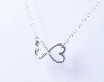 Hearts entwined - sterling silver infinity necklace