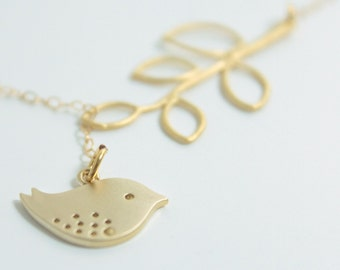 Lariat necklace - 14k gold, bird and branch lariat, lariat necklace, gold lariat, chick, gold bird necklace, gold branch