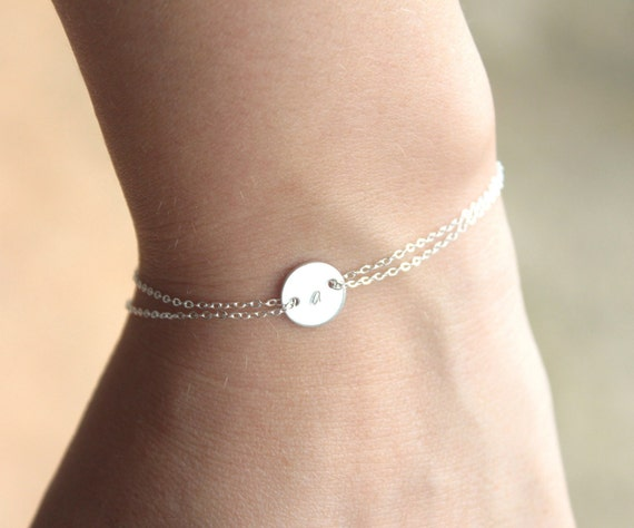 Monogram bracelet  - Sterling silver- initial bracelet -mothers day gift - sister gift