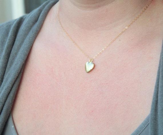 Tiny heart locket - gold necklace
