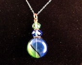 Delicate Blue and Green Blown Glass Pendant and Chain