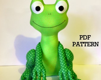 Frog PDF Sewing Pattern, soft toy, Direct Download - 'Fergus'