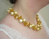 Vintage Pastel Yellow Necklace - 20 inch