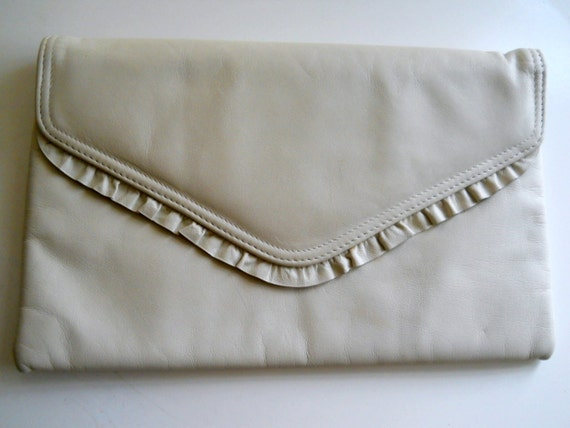 Vintage Cream Leather Clutch Bag  with Frill - Jane Shilton London