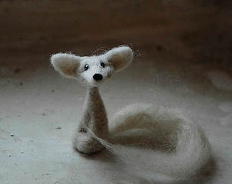 Made to order white fox miniature handmade felted fox fennec fox