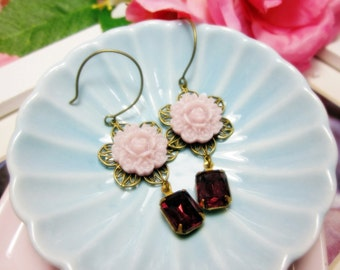 Soft Cherry Flower with amethyst glass jewel Earrings.  Lovely gift for her.