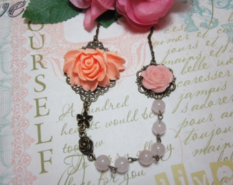 Peach roses with rose quartz beads Necklace.  Lovely gift for her. Anniversary, Birthday.  Maid of Honor.