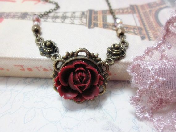 Burgundy Rose with czech beads Necklace.  Lovely gift for her. Birthday, Christmas, Maid of Honor.