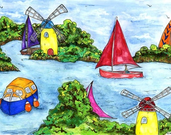A5 greeting card Boats and Windpumps