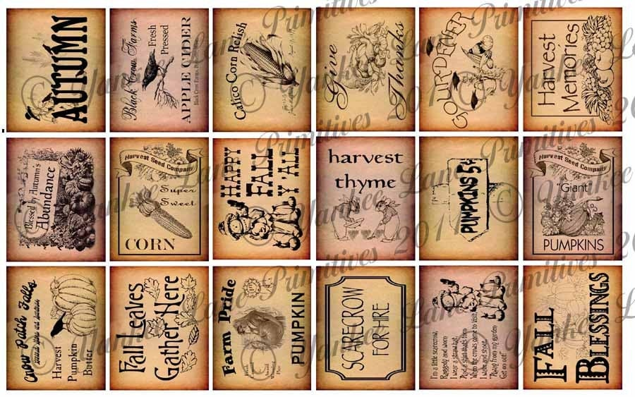 Small Fall eSet Primitive Pantry Labels 18 Designs 2 Printable