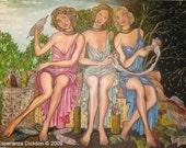 MODERN ART MOIRAS FROM GREEK MYTHOLOGY Original Oil Painting LARGE 40 X 30 Inches By Esperanza Dickson
