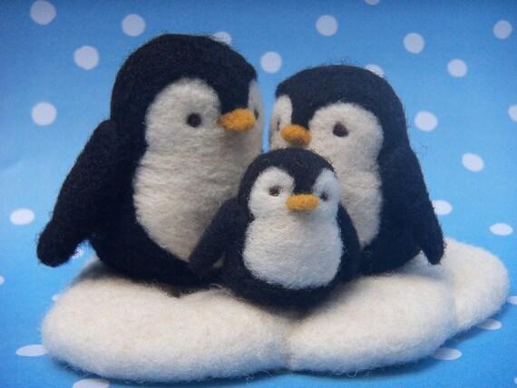Penguin Family - Needle Felted Penguins
