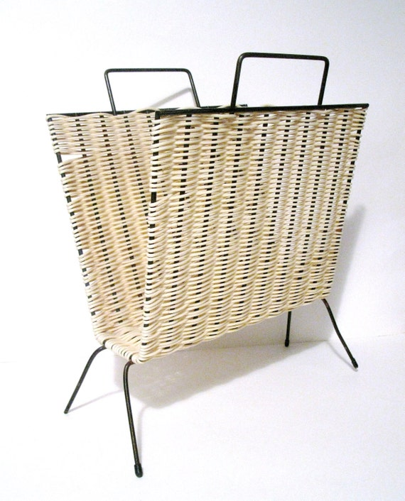 RESERVED FOR BETH Vintage Woven Magazine Rack