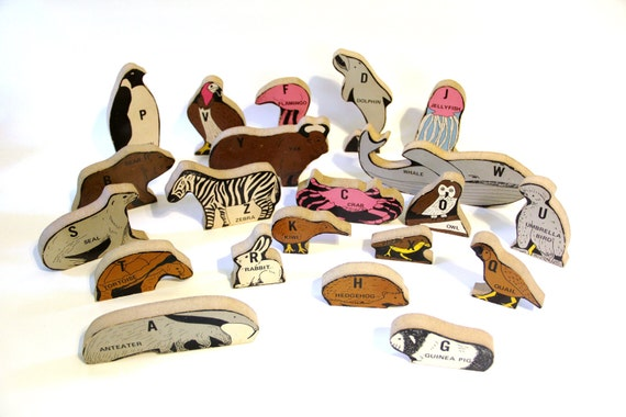 20% OFF SALE Vintage Wooden Alphabet Animals