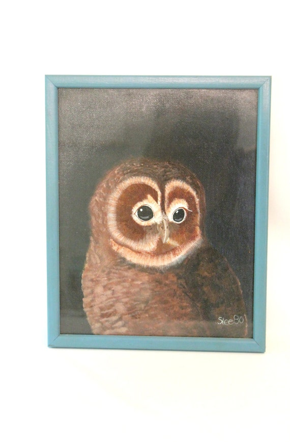RESERVED Vintage Framed Signed Original Barred Owl Painting