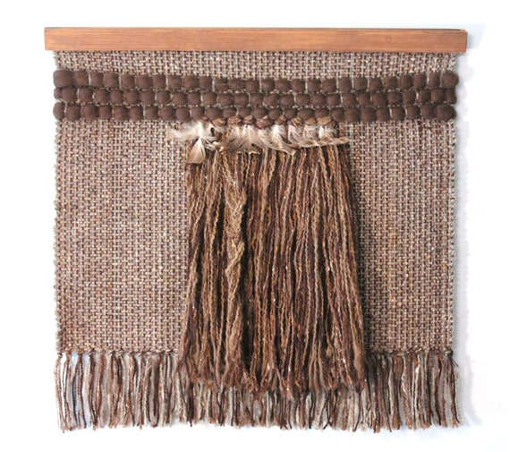Vintage Woven Wool and Feathers Wall Hanging