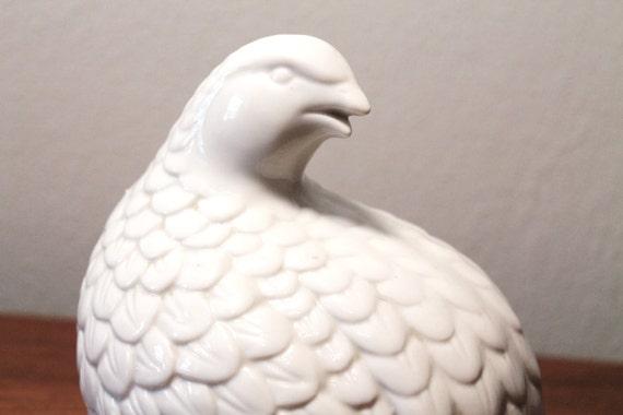 Vintage White Ceramic Quail Figurine