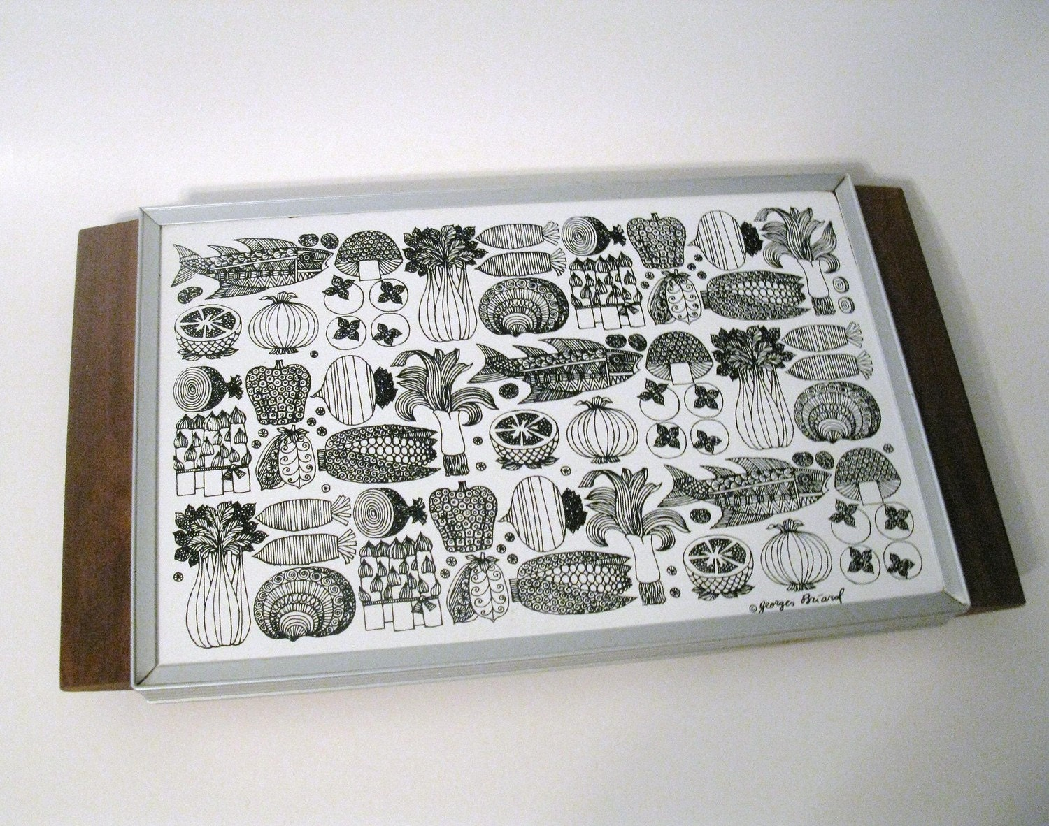Rare Vintage Georges Briard Warming Tray Mod Mushrooms By