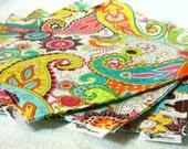 4 Reversible Cotton Napkins - Bright Floral Paisley