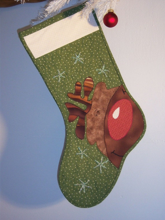Reindeer Dandy Quilted Christmas Stocking
