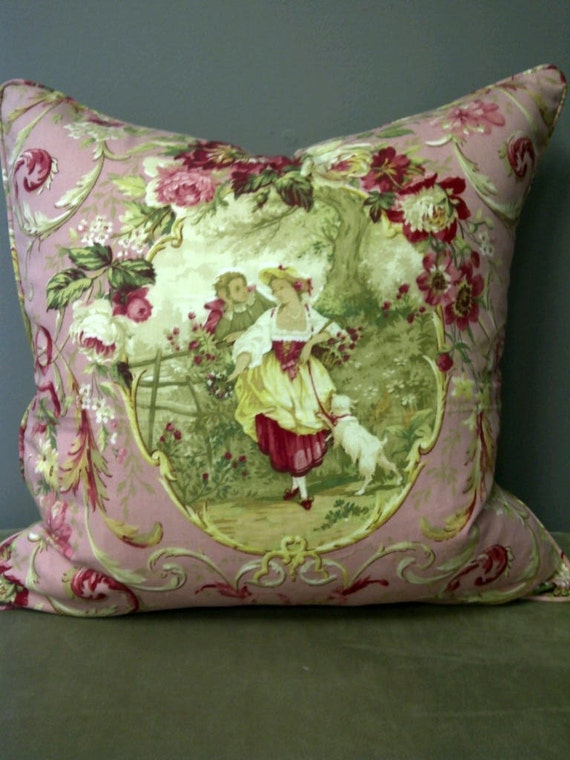 20x20 shabby chic pillow cover pink romantic scene by gertiebaxter